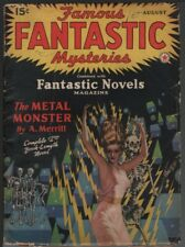 Famous Fantastic Mysteries 1941 August. Finlay skeleton cover.     Pulp