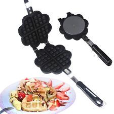 Waffle Maker inox en forme de cœur Antiadhésif pour Gaz Cuisinière et induction Cuisinière