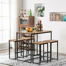 Hot Wood 5 Piece Metal Dining Table Set 4 Chair Kitchen Dining Room Furniture Us