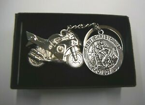 St Christopher Motorcycle Chrome Metal Keyring Gift Boxed