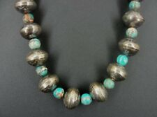 Old Mercury Dime and Turquoise Beads Native Silver Necklace