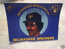 1982 ROLLIE FINGERS MILWAUKEE BREWERS RECORD POSTCARD schedule on back,relief
