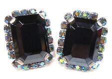 SoHo® Ohrclips achteck bohemia glas jet & vintage geschliffene Kristalle aurora