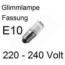 3x Glimmlampe Lampe Leuchte Ersatz Fassung E10 220 - 240V 1,5mA 0,36W  402807