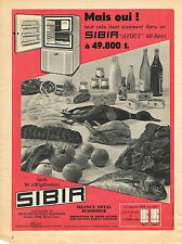 PUBLICITE ADVERTISING 1958   SIBIR    réfrigérateur
