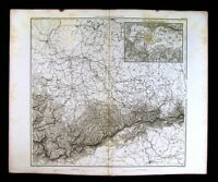 1859 Duvotenay Map - Saxony Germany & Dresden Plan - Napoleon Era Alps Leipzig
