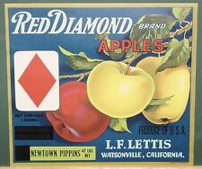 Vintage Stone Litho Red Diamond Apple Crate Label L. F. Lettis Watsonville, Ca.