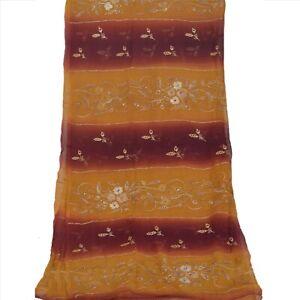 Tcw  Vintage Dupatta Long Stole Pure Chiffon Silk Dark Red Hand Embroidered
