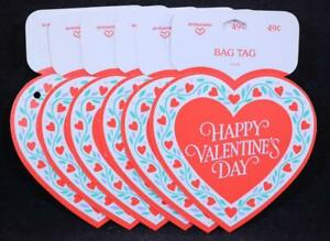 "Twelve (12) 1989 Hallmark Heart ""Happy Valentine's Day"" Gift/Bag Tags. NEW!"