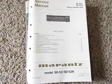 New listing Marantz Sd-52 Sd-52R U Stereo Cassette Original Service Repair Manual