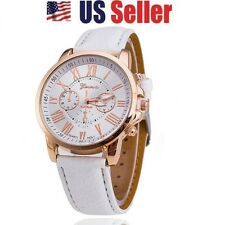 WHITE FASHION JEWELRY CASUAL NUMERALS LEATHER ROMAN UNISEX ANALOG QUARTZ WATCH