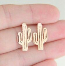 Golden Plated Hollow-out Cute Cactus Earring Ear Stud Elegant Jewelry Gift ♫