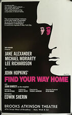 FIND YOUR WAY HOME 1973  BROADWAY WINDOW CARD JANE ALEXANDER, MICHAEL MORIARTY