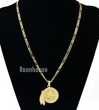 """MENS NATIVE AMERICAN FACE PENDANT W 5mm 24"""" BRASS FIGARO CHAIN NECKLACE K436G"""
