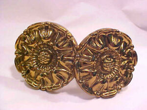 LOT of 2 English Windsor Rose Pattern Solid Brass Curtain Tie backs