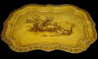 Antique Superb English Hand Painted Large Tole Tray Pastoral Cows Scene Signed.