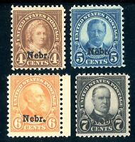 USAstamps Unused FVF US Nebraska Overprint Scott 673, 674, 675, 676 OG MLH