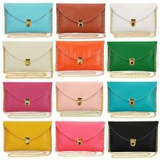 LADIES ENVELOPE CLUTCH Chain Large Long Bag Purse Chain Leather Style Wedding UK