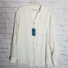 Caribbean Men's Linen Shirt Size L Long Sleeve Button-Front White Striped