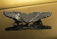 WINGS SILVER HEART Pin Golden Wings for Pilots, Flight Attendants, Crews 2 inch