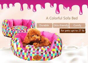 Anti-slip Bottom Colorful Cotton Canvas Plush Cat Dog Small Animal Pet Sofa Bed