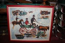 Original Folk Art Oil Painting-Horses Buggy Wagon Wheels-Signed-Thick Paint