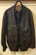 Barbour International Steve McQueen Men's Duke Black Leather Jacket Sz M NWT