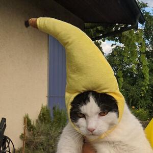 Teddy Pet Dog Cat Caps Banana Hats Funny Creative Plush Yellow Christmas JA