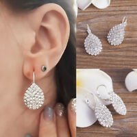 Women Fashion 925 Sterling Silver Plated Dangle Crystal Rhinestone Hook Earrings