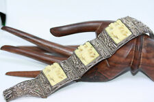 Antique 1890's Chinese Sterling Silver Export Women's Carved Panel Bracelet 7""