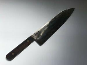 T0509 Japanese Kitchen Knife Santoku Hocho Vintage Signed Blade Handle