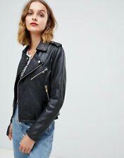NWT $566 Designer Barneys Originals LEATHER Jacket French Navy Black 8 10 12 14