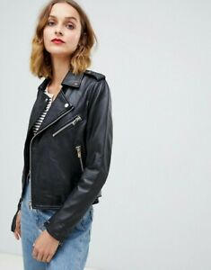 NWT $566 Designer Barneys Originals LEATHER Jacket French Navy Blk 8 10 12 14 16