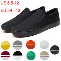 Men's Canvas Sneakers Classic Black Slip On Casual Skool Skate Athletic Shoes