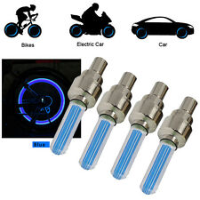 4X Blue LED Valve Cap Bicycle Cycling Bike Motor Wheel Tire Light Spoke