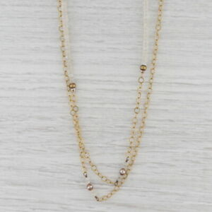 "New Nina Nguyen Moonstone Bead Necklace Sterling Gold Vermeil 38.5"" Adjustable"