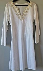 White kaftan beach cover dress 100% cotton gold thread embroidered v neck tunic