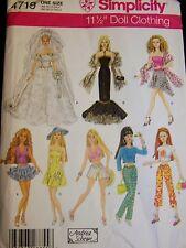 "SIMPLICITY #4719 Pattern 11 1/2"" Dolls Wedding Ballgown Everyday Wardrobe Uncut"