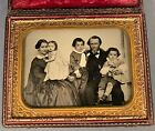 FABULOUS FAMILY OF FIVE, HALF PLATE RUBY AMBROTYPE, GREAT FULL CASE, SHARP