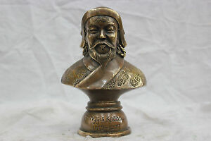 China Pure Bronze Genghis Khan Bust Statue Carved Auspicious Flowers