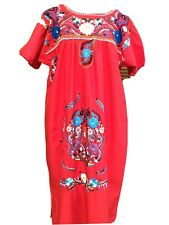 Vintage Mexican Bohemian Peasant Dress Hand EmbrFlower Floral Red L XL 44""