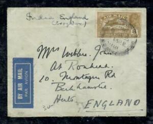 INDIA COVER  (P3003B) 1935 KGV  6A A/M+SILVER JUBILEE 1/2A+1A  A/M TO ENGLAND