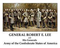 8x10 General Robert E Lee + His Generals PHOTO Confederate Civil War Poster