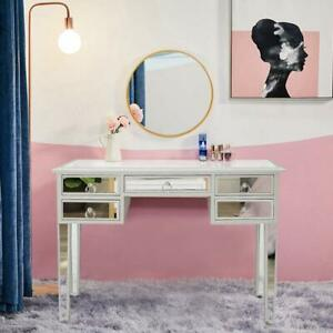 New Modern Mirrored Console Table Makeup Vanity Desk with 5 Drawers Storage