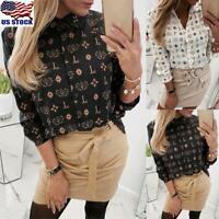 Womens Print Long Sleeve Tops T-Shirt Ladies Casual Button Down Blouse Tee USA