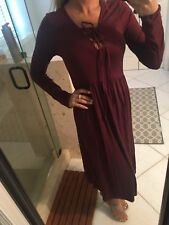 Stitch Fix Gilli Red Wine Lace Up Front 3/4 Sleeve Maxi Dress Empire M  New