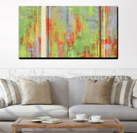 Abstract Art - Painting Green Orange Gray Brown - US Artist - Large 48 x 24