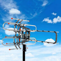 HDTV Outdoor Amplified Antenna 150Miles HD TV 36dB Rotor Remote 360°UHF/VHF/FM