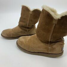UGG Shanleigh Womens Boots Booties Tan Shearling Lined Warm Winter Size 5 **Read