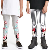 Kids Child Girls Cartoon Minnie Mouse Pants Casual Skinny Slim Leggings Trousers
